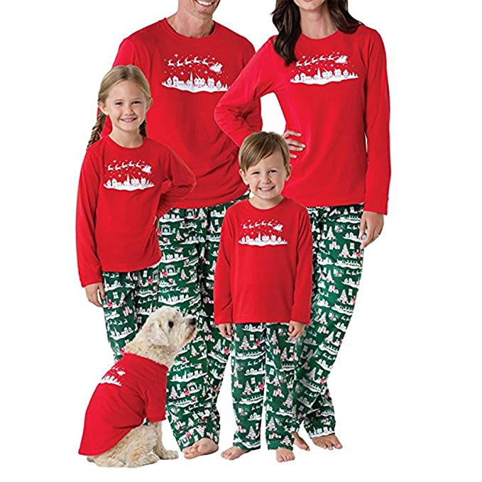 Chicolife Familia árbol de Navidad Set fija superior pantalones de manga larga pijama ropa de dormir