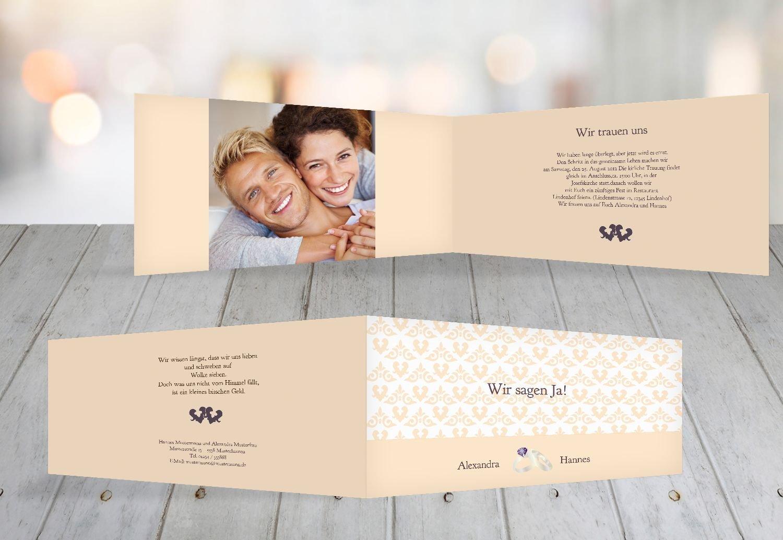Kartenparadies Hochzeitskarte Einladung Ornament mit Herz, hochwertige Einladung zur Heirat inklusive Umschläge   10 Karten - (Format  215x105 mm) Farbe  Rosadunkellila B01MZBZSLB | Für Ihre Wahl  | Erschwinglich  | Billiger als der Preis