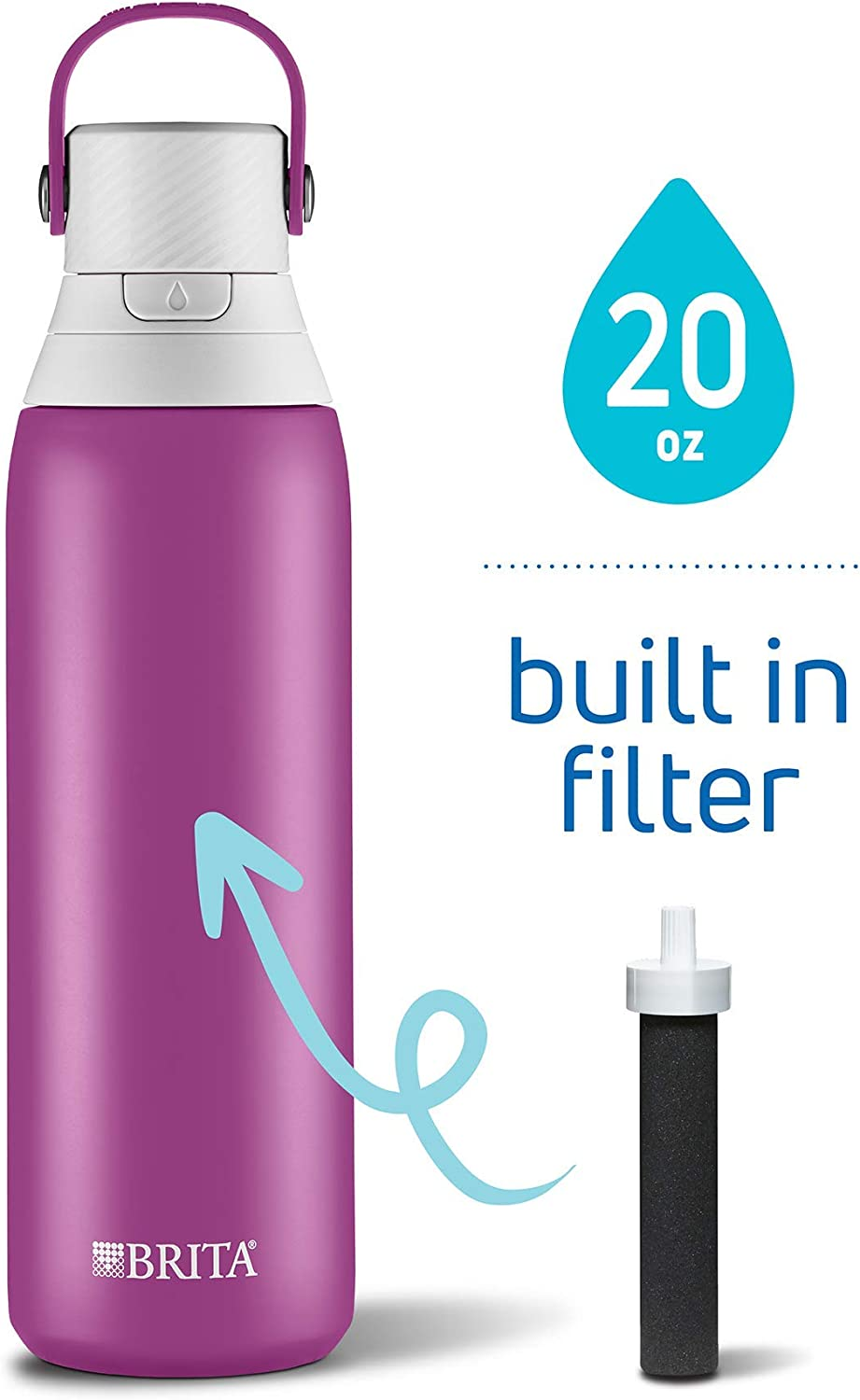 Brita 20 Ounce Premium Filtering Water Bottle with Filter - Double Wall Insulated Stainless Steel Bottle - BPA Free - Lilac and Assorted Colors