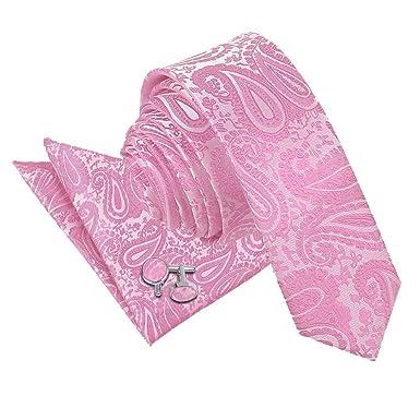 Fuschia Pink Mens Tie Napkin Set Silk Floral Pocket Square Hanky
