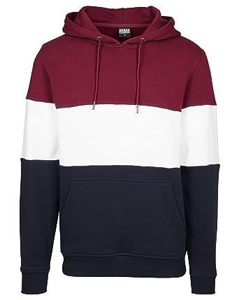 b871845a56ac1 Urban Classics - Sweat capuche homme tricolore bordeaux - couleur  Rouge -  taille  S