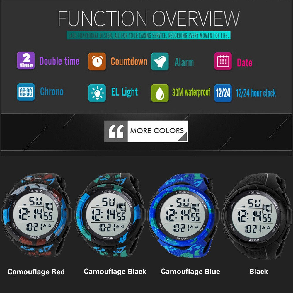 Amazon.com: Digital Watches for Men DYTA 5ATM Water Resistant Outdoor Wrist Watches LED Sport Watch on Military Quartz Watchs with Rubber Silicone Strap ...
