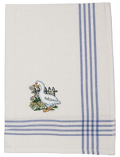 6 pieza bordado paño de cocina color blanco diseño Ganso Set 70 x 50 cm Piqué