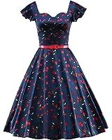 LUOUSE Damen Rockabilly Kleid Retro 50er Kleid Festliche Kleider Kirschmuster