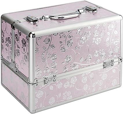 Estuche de maquillaje, novedad extra grande espacio de almacenamiento de belleza caja de maquillaje joyería de uñas cosmético Vanity caja de aluminio con llave-rosa/plata rosa: Amazon.es: Belleza