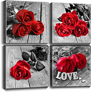 Red Rose Bathroom Wall Decor Black and White Canvas Art Romantic Flowers Prints Love Couple Theme Photo Paintings Wood Grain Picture for Bedroom Living Room Office 8 x 8 Inch 4 Set Kitchen Decorations