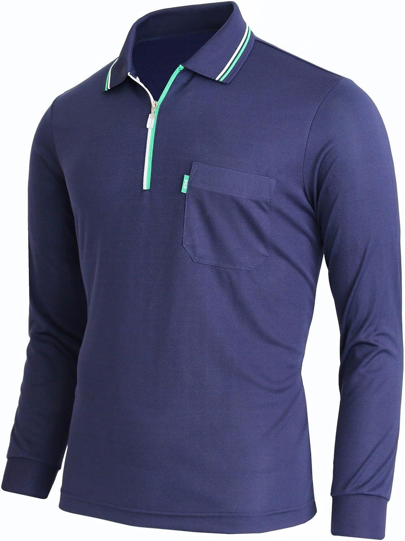Asia-2XL BCPOLO Zip Polo Shirt Athletic Long Sleeve Dri Fit Zip Polo-Navy-L