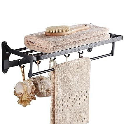 Perforación gratuita toallero baño toallero negro baño colgador de toallas toallero colgador de pared para baño