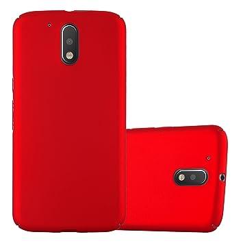 Cadorabo Funda para Motorola Moto G4 / Moto G4 Plus en Metal Rojo - Cubierta Protección de Plástico Duro Super Delgada e Inflexible con Antichoque - ...