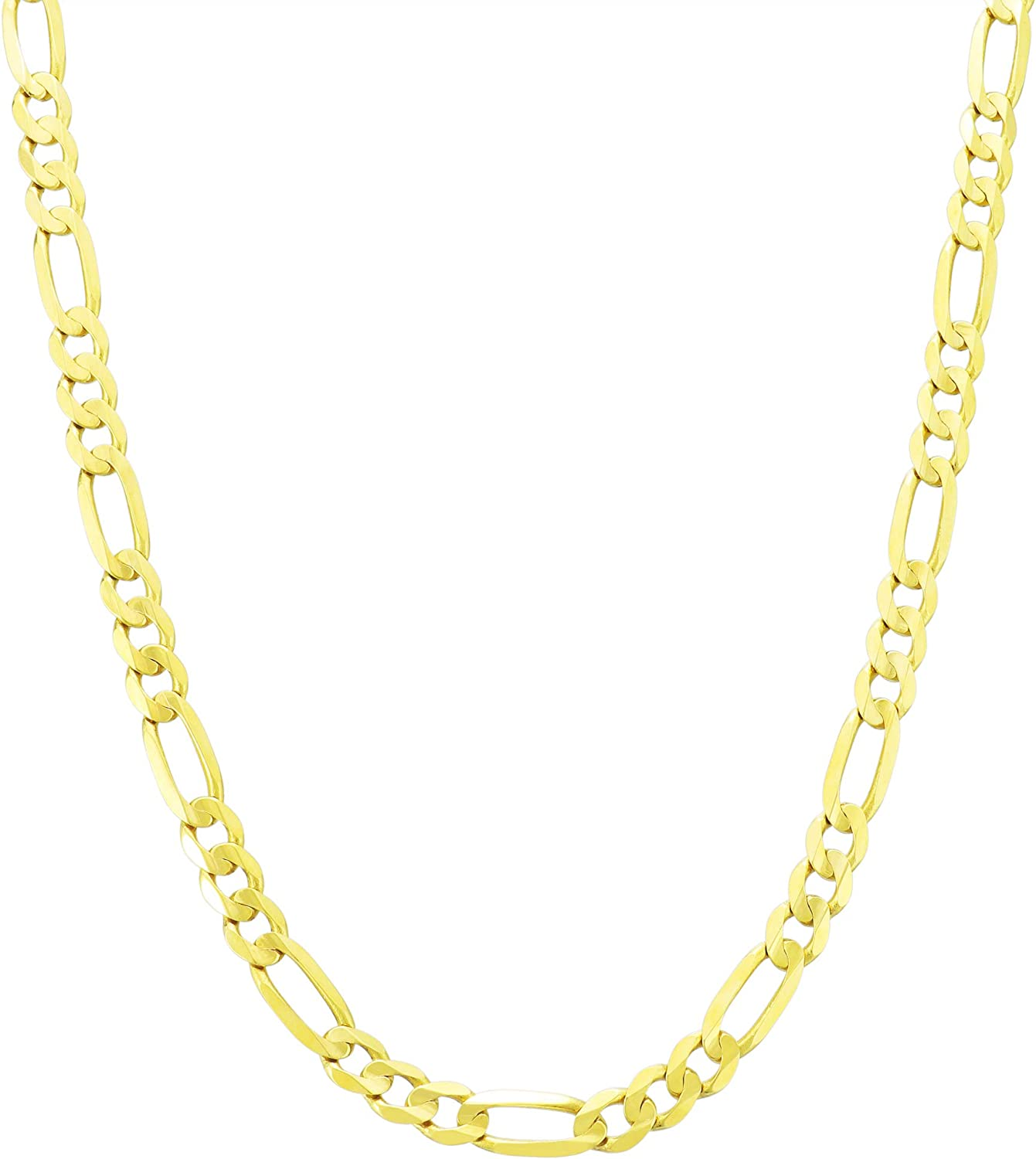 "10K Yellow Gold Figaro Link Hollow Chain 2mm ~ 5.5mm 16/"" ~ 30/"""