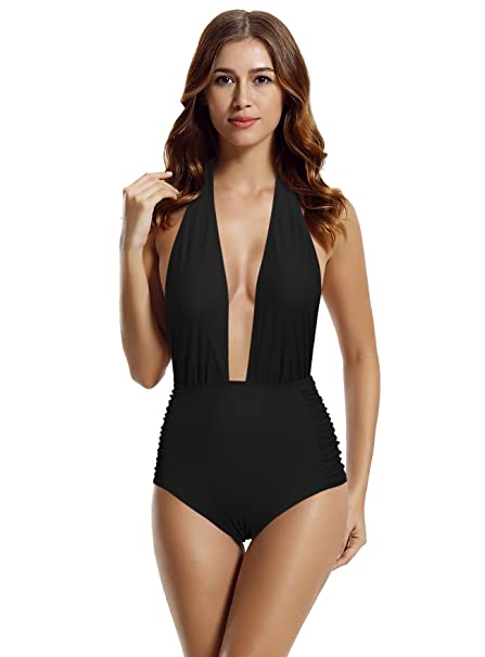 ee2aafa488b zeraca Women's Deep Plunge High Waisted One Piece Swimsuit Bathing Suit:  Amazon.ca: Clothing & Accessories