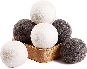 Wool Dryer Balls 6 Pack XL Natural Fabric Softener, Organic Dryer Balls XL Reusable Laundry Balls, 100% New Zealand Wool Handmade Balls-Reduce Wrinkles & Save Drying Time Alternative to Dryer Sheets