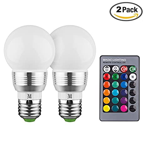 KOBRA LED Bulb Color Changing Light Bulb With Remote Control (2 Pack)16  Different
