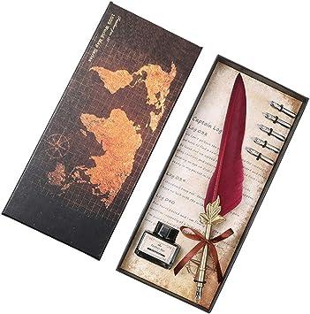3 Schreibfedern 25 ~ 26cm Feder Dip Pen Stift Mit Tinte