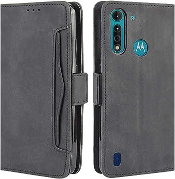HualuBro Funda para Motorola Moto G8 Power Lite, Funda Libro de Premium PU Cuero con Ranura para Tarjetas y Billetera Flip Cover Magnético Carcasa para Motorola Moto G8 Power Lite Case, Negro: