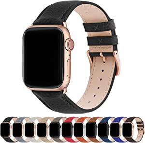 Fullmosa Compatible Apple Watch Band 44mm 42mm 40mm 38mm Leather Compatible iWatch Band/Strap Compatible Apple Watch SE & Series 6 5 4 3 2 1, 38mm 40mm, Black + Rose Gold Buckle