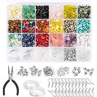 1000Pcs Irregular Chips Stone Beads Gemstone Beads Kit Crystal Chip Beads for Jewelry Making, Arts Stone Beads Elastic…