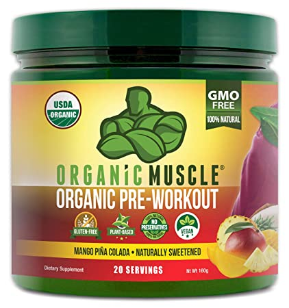 ORGANIC MUSCLE 1 Rated Organic Pre Workout Powder **NEW Flavor** Natural Vegan Keto Pre-Workout Organic Energy Supplement for Men Women Non-GMO, Paleo, Plant Based Mango Pi a Colada 160g