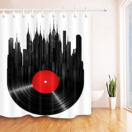 . LB City in Vinyl Record Shower Curtains for Bathroom  Music Themed Abstract  Art Print Curtain  70 x 70 Bathroom Curtain Waterproof