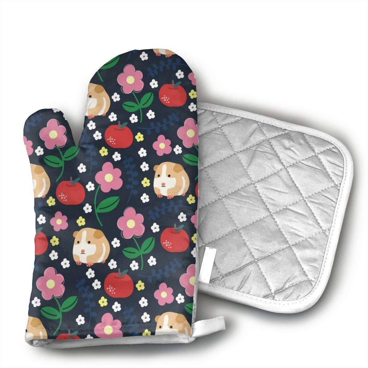 HAOVMM Guinea Pigs and Apples Insulated Oven Mitts and Mat Sets Protect The Hands and Surfaces of All