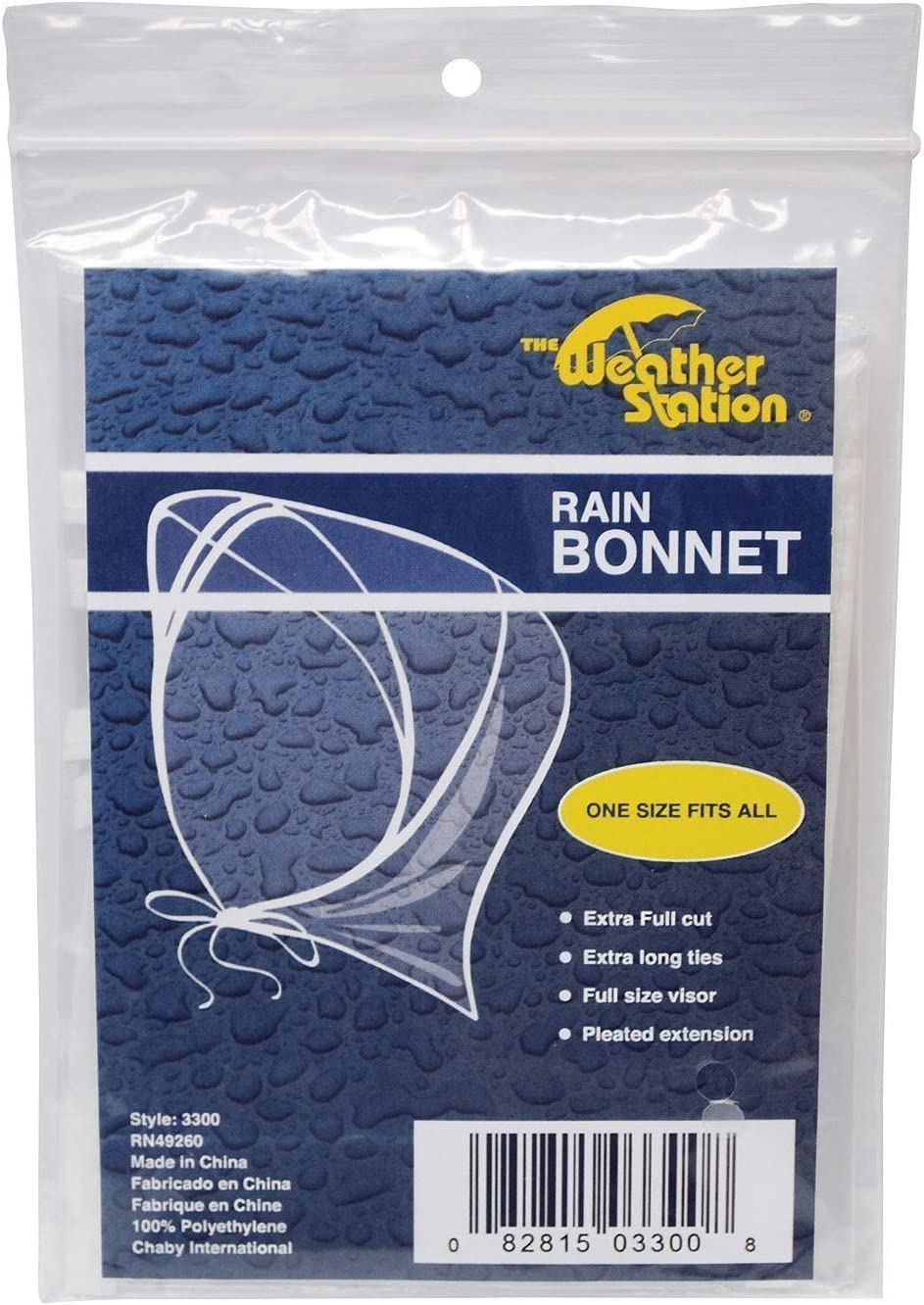 The Weather Station Plastic Rain Bonnet Hat, 3-Pack: Health & Personal Care