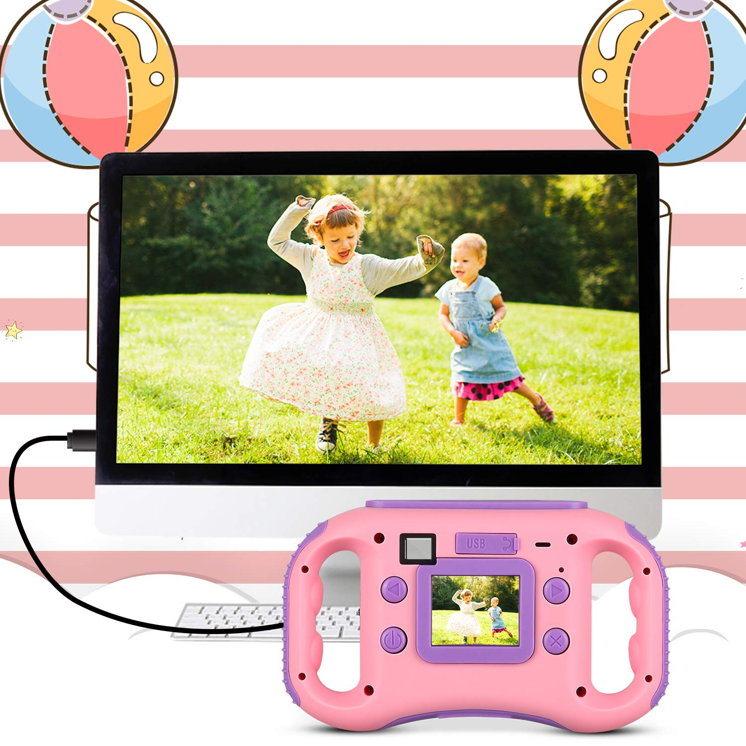AGM Kids Camera for Girls & Boys, 1.77Inch Children Video Recorder Toddler Digital Camera,Creative Birthday Children's Day Gifts (Pink) by AGM (Image #1)