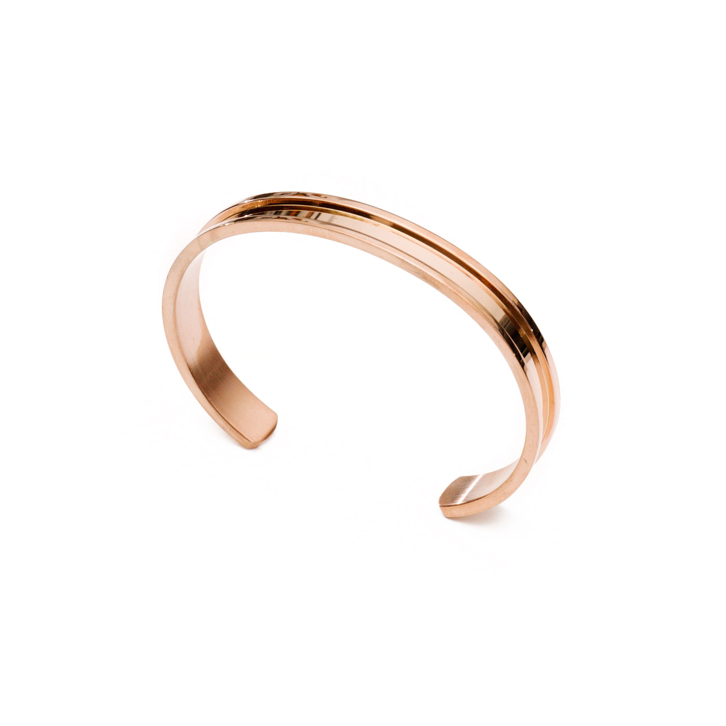Lucky Lady Collections Hair Tie Bracelet by Rose Gold Grooved Cuff Bangle (1 Pack) | Women's Fashion Bracelets for Comfort and Style | No-Show Hair Elastic Bangles for Girls | Accessory or Gift