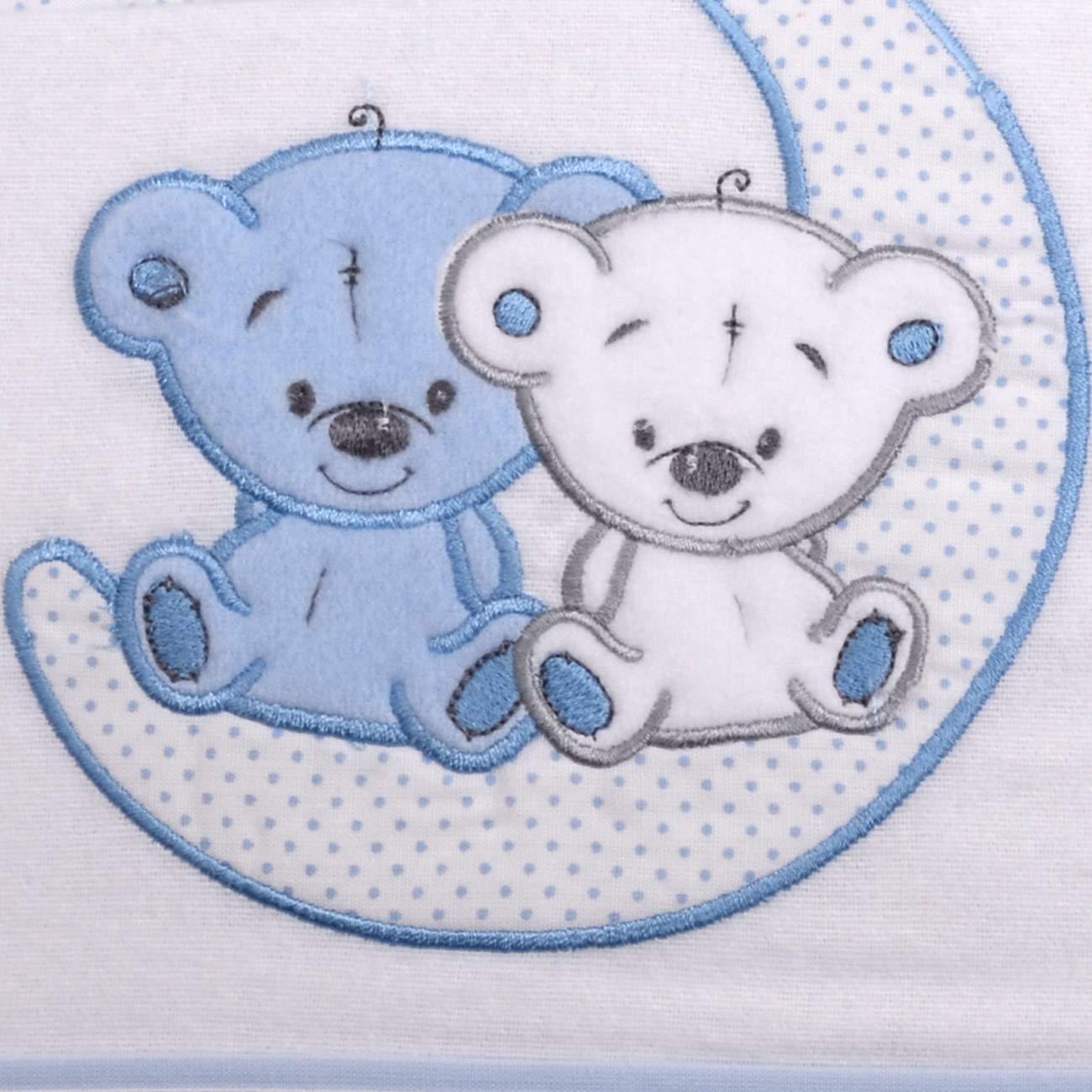 Flanell 100 /% Baumwolle Blau-Wei/ß 60 x 120 cm PEKITAS Baby-Bettw/äsche-Set 3 St/ück Kinderbett 60 x 120 cm