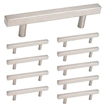 Brushed Nickel Square Cabinet Handles Stainless Steel   Homdiy HDJ22SN 5in  Hole Centers 10 Pack Modern