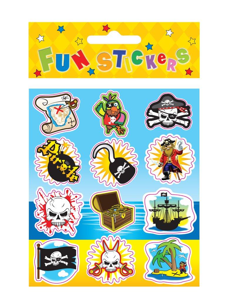 Pirate Party Fun Foiled Sticker Sheet Loot Bag Filler