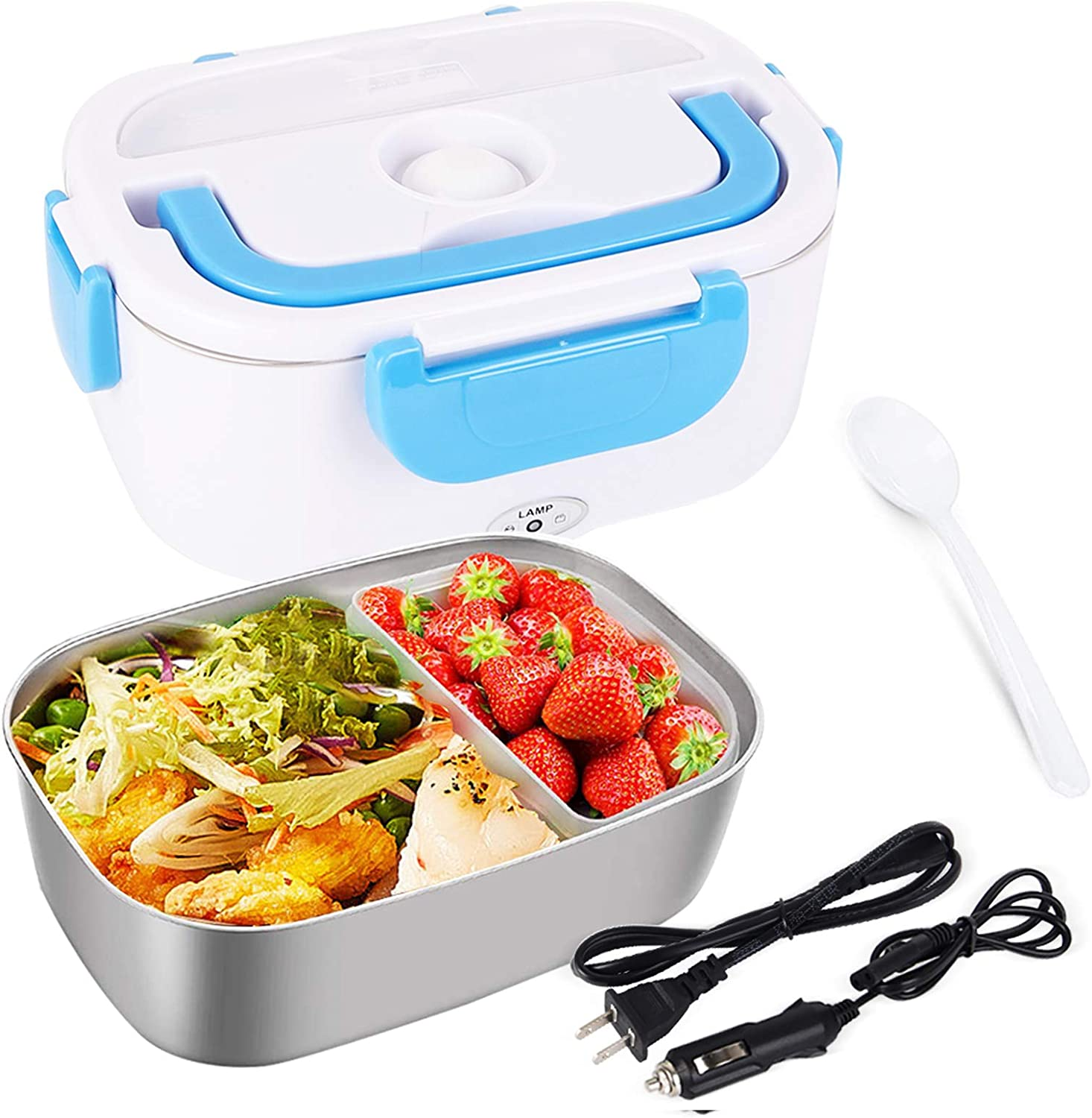 Electric Lunch Box for Car and Home 110V & 12V 40W, Portable Food Warmer Heater 1.5L, Food-Grade Stainless Steel Container, Spoon and 2 Compartments Included (Blue)