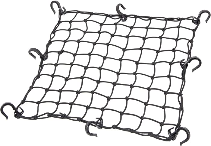 Powertye Mfg.17inx 17in Cargo Net with 8 Adjustable Hooks and Extra -Tight 1.75in Mesh, Black. Only Buy from The Inventor of The Cargo Net!