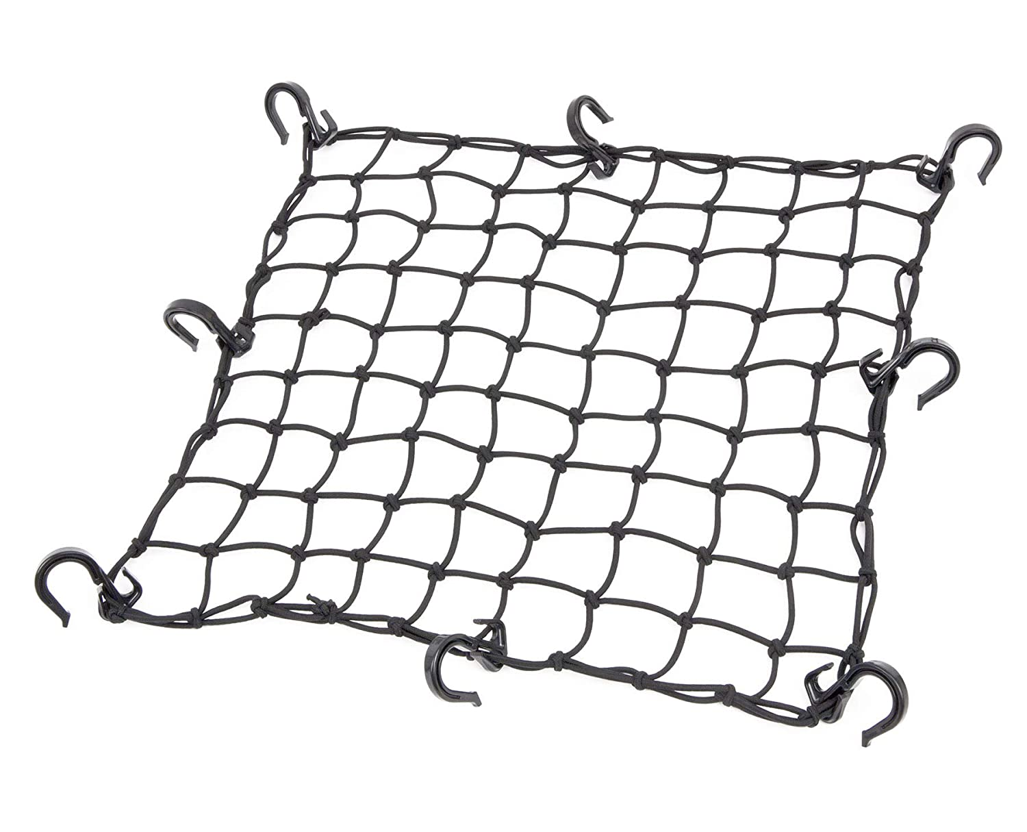 Black Powertye 17inx 17in Cargo Net with 8 Adjustable Hooks and Extra Tight 1.75in Mesh