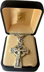"""Elysian Gift Shop Silver Heritage Collection 1-5/8"""" Irish Celtic Cross Necklace for Men with 24"""" L Oxidized Silver Plate Chain and Celtic Crucifix"""