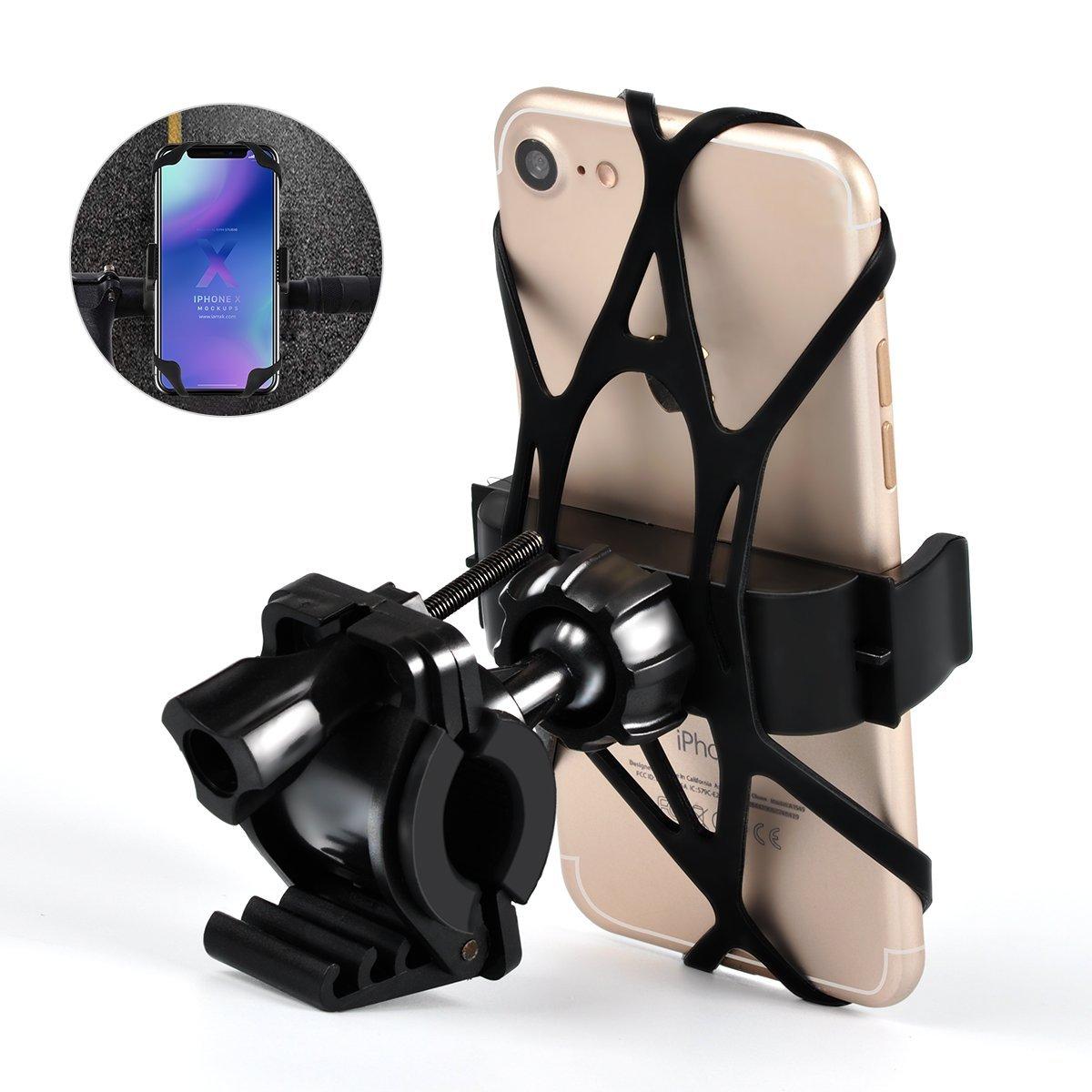 Bike Phone Mount, Bicycle & Motorcycle Phone Holder,Universal Compatible iPhone X/8/8 Plus,7/7 Plus,6/6s Plus,Galaxy S7/S6 Other 4-6.0 Smartphones (Black) Cornmi