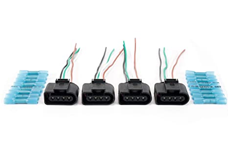 ignition coil, coil pack replacement connector harness set of 4 fits vw, volkswagen and audi 1 8t, 2 0t, 2 5l, 3 2l, 4 2l vehicles