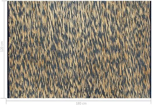Festnight Alfombra de Yute Rectangular 120 x 180 cm Azul y Natural Alfombra Tejida a Mano de Yute Trenzado y Algodón: Amazon.es: Hogar