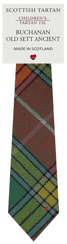 Boys Clan Tie All Wool Woven in Scotland Buchanan Old Sett Ancient Tartan I Luv Ltd