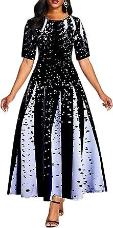 VERWIN Pocket Ankle-Length Short Sleeve Patchwork Off Shoulder Pullover Standard-Waist Women's Maxi Dress