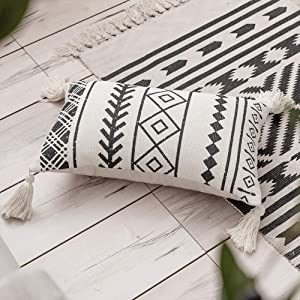 Black Cream Throw Pillow, Boho Lumbar Pillow with Tassels, Rectangle Pillow for Bed Bedroom Living Room Sofa Couch 12