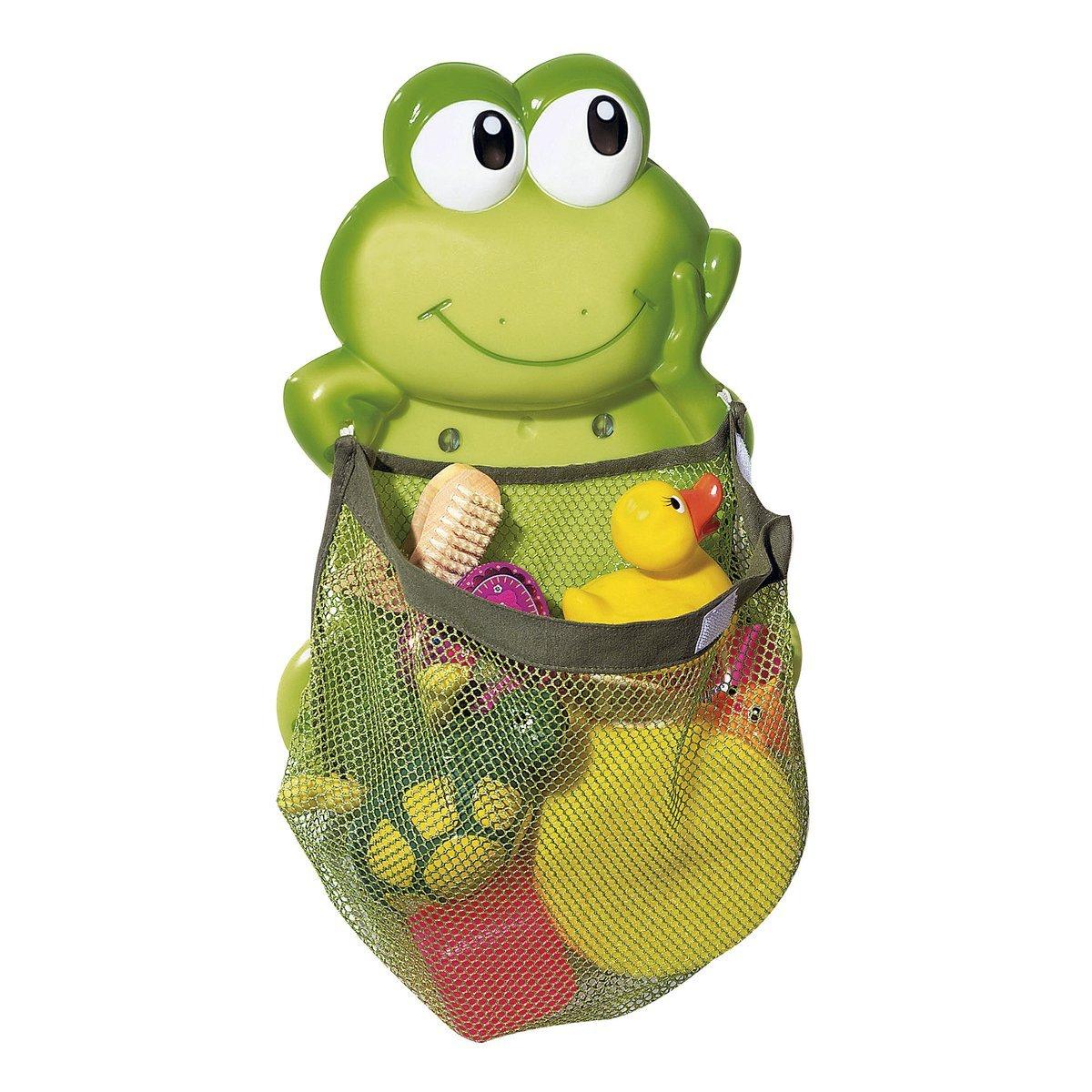 babywalz Aufr/äumnetz Frosch gr/ö/ßenverstellbar durch Klettverschluss Aufbewahrungs-Netz f/ür Badespielzeug gr/ün extra starke Saugn/äpfe