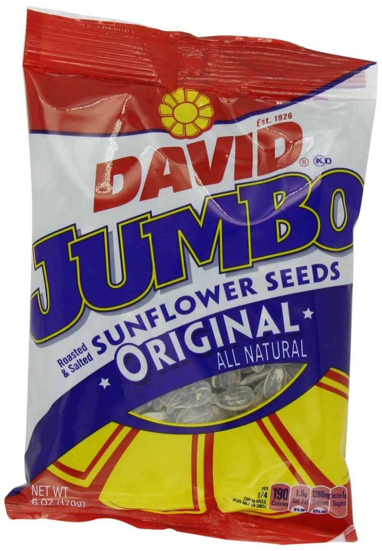 David Orignal Jumbo Sunflower Seeds, 6-Ounce Bags (Pack of 10) by DAVID Seeds