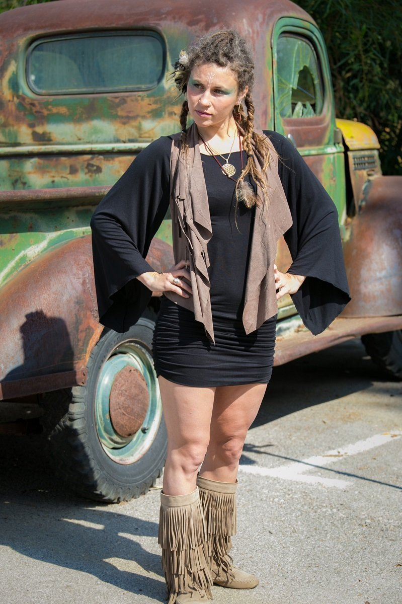 Long Bell Sleeve Little Black Bohemian Short Dress, Boho Chic Handmade Cotton Mini Dress, Gypsy Festival Clothing