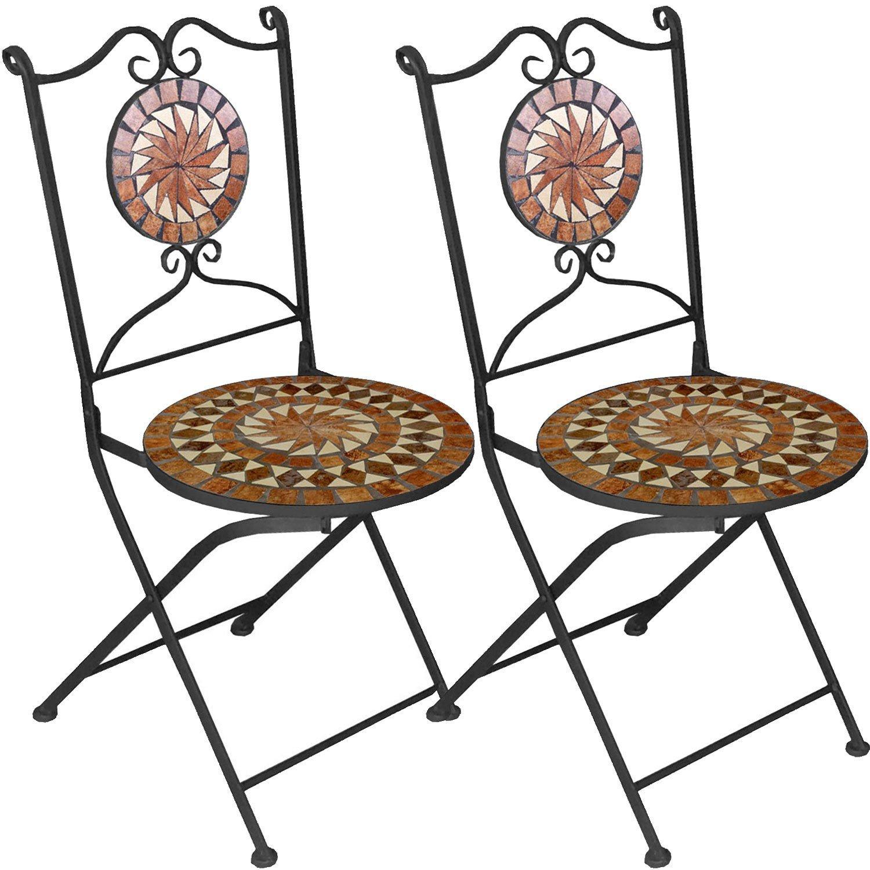 2er Set Mosaikstühle Mosaik Gartenstühle Klappstühle