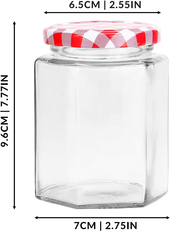 M/&W Tornillo superior tapas de guinga roja Vasos de vidrio de 324 ml Frascos herm/éticos para salmuera Juego de 24 tarros de mermelada
