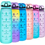 Elvira 32oz Motivational Water Bottle with Time Marker & Removable Fruit Infuser, Leakproof BPA Free Wide Mouth, Ensure…