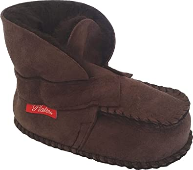 Plateau Tibet - Echt Lammfell Baby Schuhe Krabbelschuhe Booties - HuggME - Dunkelbraun, Gr. 18-19