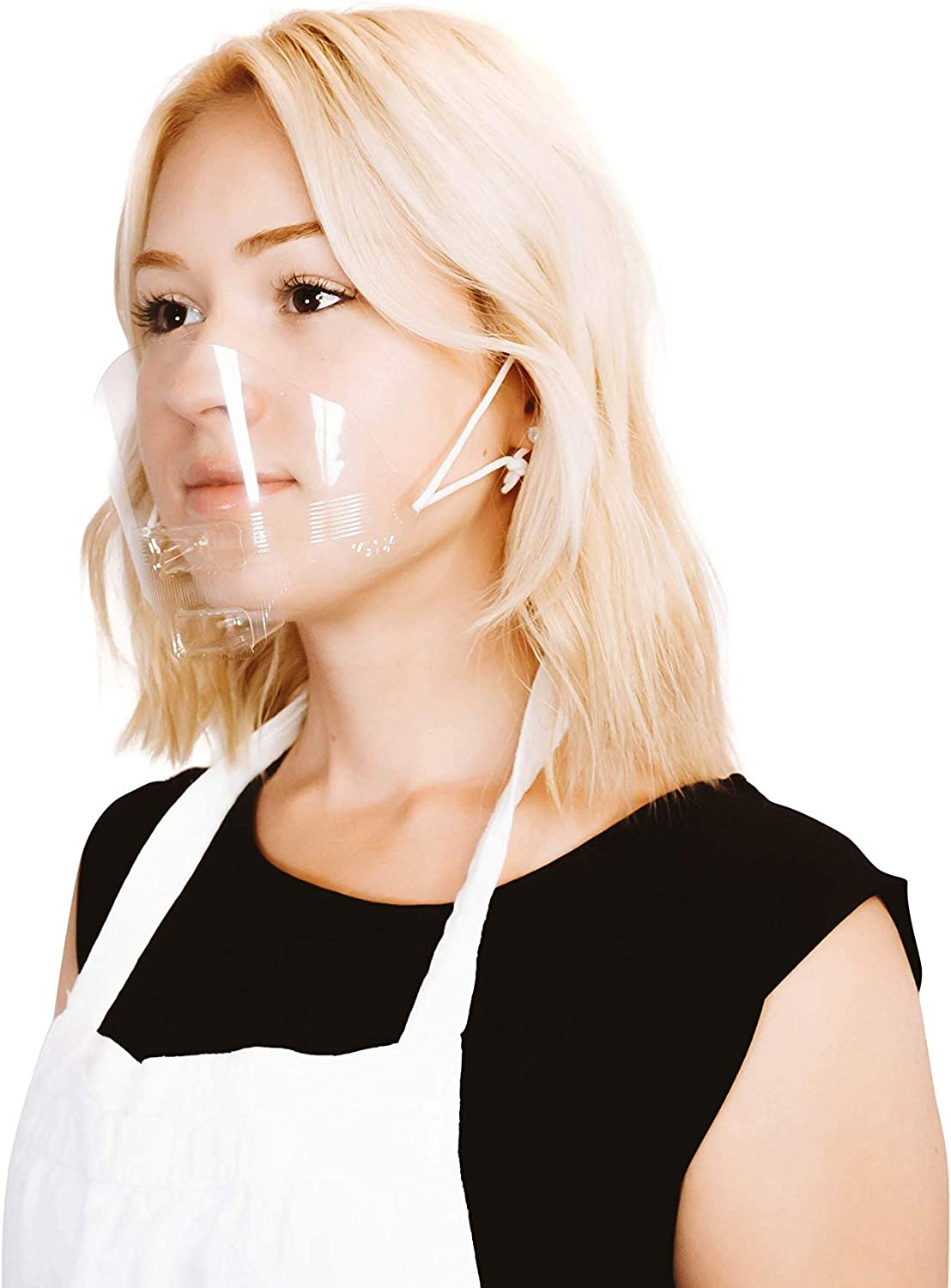 (30 Masks) Ultralight Mask Transparent Hygienic Open Face Shield for Foodservice - Hospitality - Retail I Anti-Fog I Clear Open Mouth Design with Chin Rests I Rinse & Reuse I Fully Disposable
