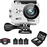 Action Cam, Vemico 4K Action Kamera WiFi Helmkamera Wasserdicht bis 40m 2.0 Zoll Display mit 2.4G Fernbedienung und 3 Wieder Aufladbaren Akkus