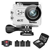Vemico 4K Action Camera Ultra HD Impermeabile Casco Camera 16MP WIFI Sport 40M Videocamera Subacquea Schermo LCD 2.0 con Controllo Remoto 2.4G e 3 Batterie Ricaricabili (Argento)